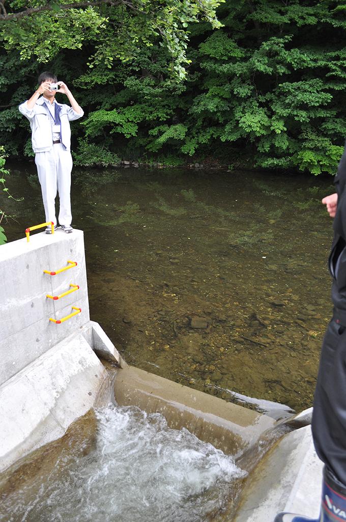 魚道の上流側の出口。砂利で塞がらなければ水が流れるのだろうが…本当に必要なのだろうかという疑問を感じる。