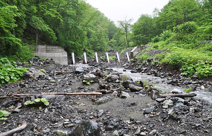 鋼鉄製のアングルが組まれたダムである。スリットダムと呼ばれそうだが、間口が狭いので、流木や巨石が挟まれば、スリットの効果は失われる。見せかけのスリットダムと思って良い。
