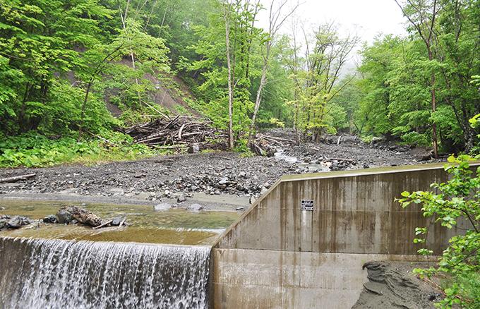 治山ダムから流れ出す砂利の大きさは小ぶりの砂利だと分かる。そして、治山ダムは満砂になっており、その上を水が蛇行しながら流れる。蛇行した流れは川岸や川に面した山の斜面を浸食するから崩れ、木が倒れ込み、崩れた土砂が流れ出すことになる。