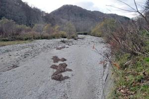 2011-11-10・加工済・厚沢部川支流古佐内川・水が無くなっていた・DSC_0291