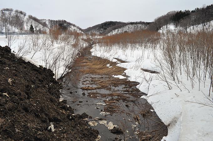 スリット式砂防ダムの上流側にも土が置かれていた。土によって流れにくくなった水が溜まっていた。