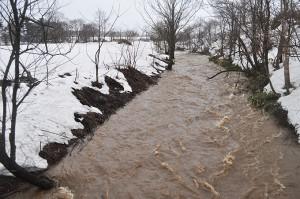 泥水が流れる。