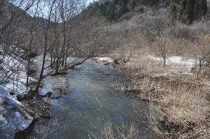 砂防ダムの堆砂域は上流へと広がり、大きく川幅が広がっている。