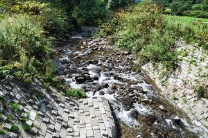 川底が下がれば、護岸ブロックもズリ落ち、壊れてしまう。