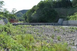下流にもスリットダムが建設されている。そのすぐ上流には鋼鉄製のアングルが組まれたアングルダムがセットで設置されている。