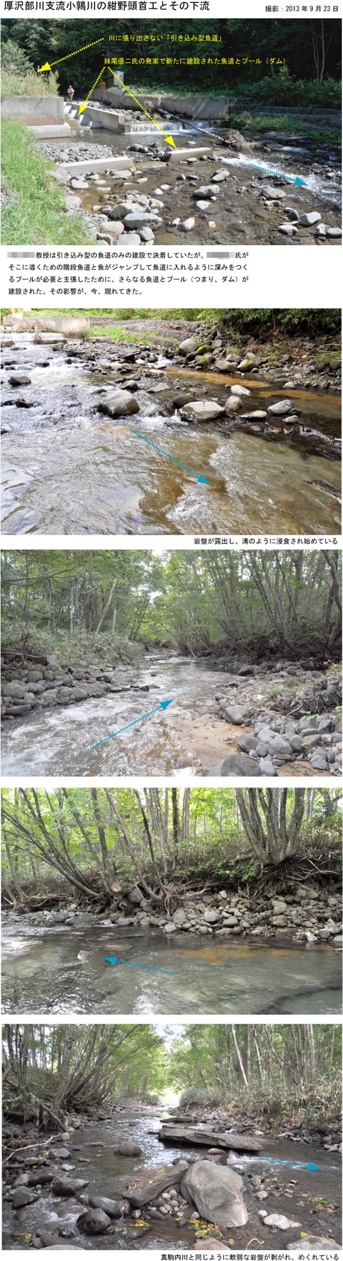 2013-09-23・小鶉川頭首工下流で岩盤が露出し始めた
