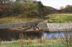 落差工の階段の下の方には別の支流が流れ込んでいた。支流も川底が浸食されるようになり、川底が下がり、川岸が崩れたのだろう。護岸が布団カゴでガチガチに固められていた。