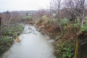 川底が下がっているので、川に面した斜面がズリ落ちてきたのだろう。