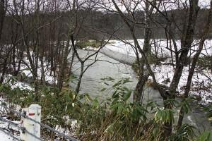 こんなところに護岸が…と思ったが、農地の縁が崩れたのだろう。まだ真新しい護岸。
