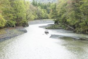 上岩松ダムに流れ込む十勝川支流二ペソツ川