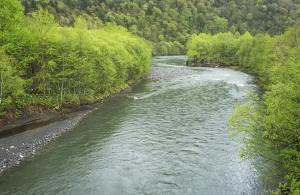 川岸に注目すると、川岸が垂直に崩れているのが分かる。また、異常に小ぶりな砂利が目立ち、川幅が広がっている。上流にダムがあることを示唆している。