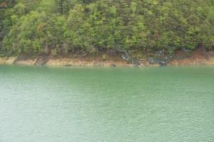 湛水域に面した山の斜面は浸食され続ける。