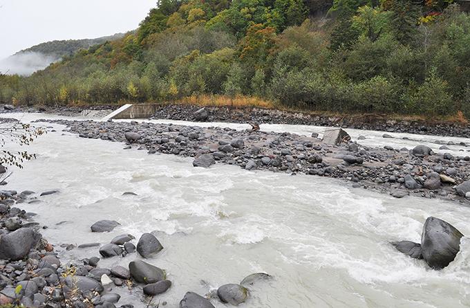 途中にコンクリートの堰があった。向こう岸(右岸)は⑧と同様に、垂直に崩れている。この堰があるので、⑧と⑨は川底が下がったから川岸が崩れたのとは違い、川底が上がり、かつ、流されやすい粒径の小さな砂利ばかりになっていたために、浸食されて川岸が崩落したと考えられる。砂利を止めるダムは川岸の崩壊で流れ出してきた砂利を貯め、やがて、満杯になると平らにならされて、流路が蛇行して川岸を新たに浸食するようになり、川岸がどんどん崩されることになる。
