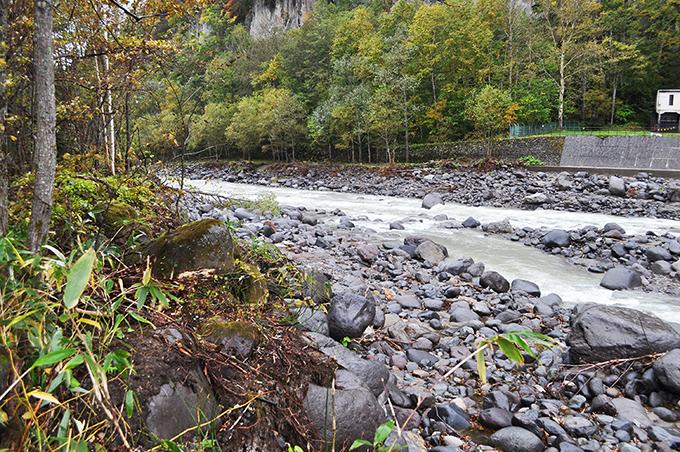 】巨石が少なく、川岸が崩れ、垂直になっているのが目立つ。水は草木のところまで達していないことにも注目ください。