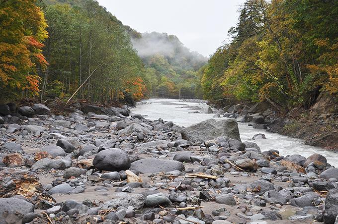 道路が崩壊した下流を見ると、明らかに川底が掘り込まれている。また、巨石が少なくなっているのが特徴でもある。右岸の山の斜面が基礎にあった石が抜かれているので、岩盤が露出し、山の斜面もずり落ちそうになっている。