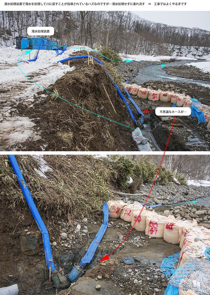 現場には濁水処理装置へ通さずに垂れ流すホースがあった。