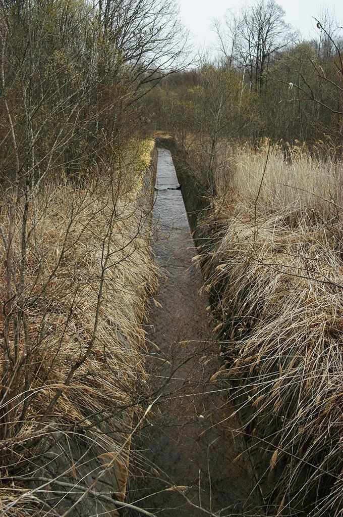 道路の上流側は見事なコンクリート三面バリの水路となっていた。