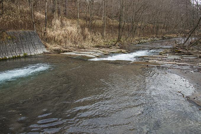 巨大スリットダムの下流側では河床が堀下がり、川岸が崩れている。2015年11月20日