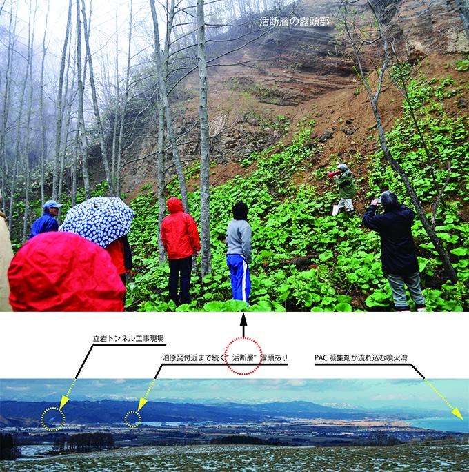 立岩トンネル工事現場と立岩活断層・噴火湾の