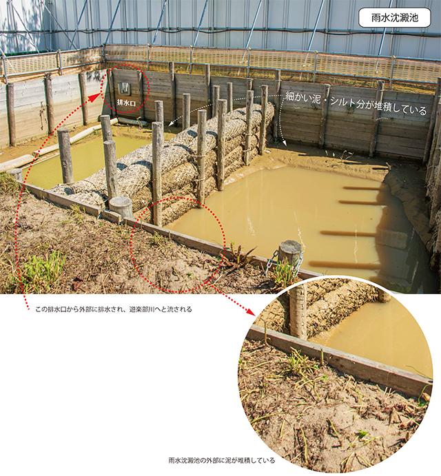 雨水沈澱池周りには濁水が溢れ出したような痕跡が見られた。