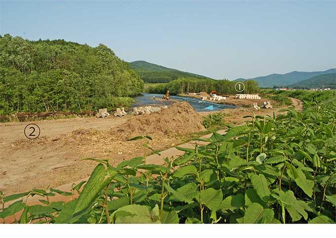 ②から①方向を見る。上流の破堤した堤防で行われていた工事。堤防と澪筋の間にあった河畔林がすべて伐り払われた。
